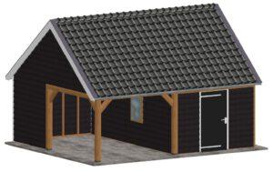 houten schuur met afdak bouwen